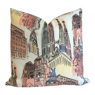 City Scape Euro Sham in Pastels 24x24 For Sale