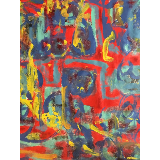 """Artist Alaina Suga Lane Williams' statement: """"This painting was a therapeutic and freeing experiment in color and motion...."""