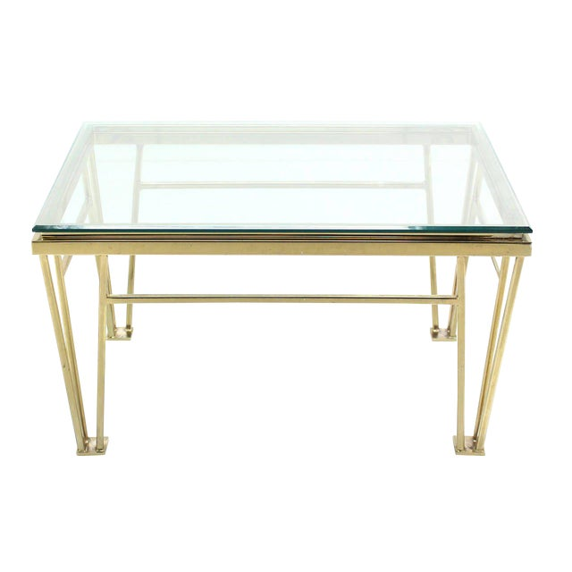 Geometric Frame Rectangular Brass Side Table w/ Glass Top For Sale