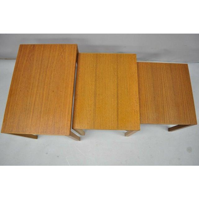 Orange 1960s Mid Century Modern Bent Silberg Teak Nesting Stacking Side Tables - Set of 3 For Sale - Image 8 of 10