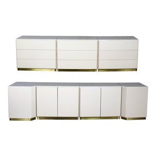 Milo Baughman Thayer Coggin Ivory Lacquered Cabinets - Set of 7 For Sale