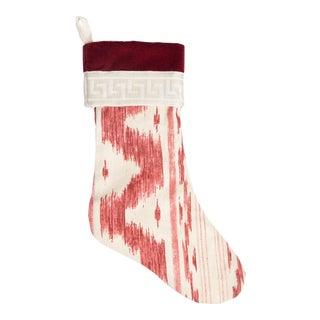 Custom Linen Garnet Ikat and Greek Key Stocking For Sale
