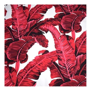 Red & White Banana Leaf Cotton Fabric For Sale
