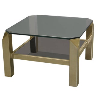 1970s French Faceted Corner Two-Tier Brass Side Table For Sale