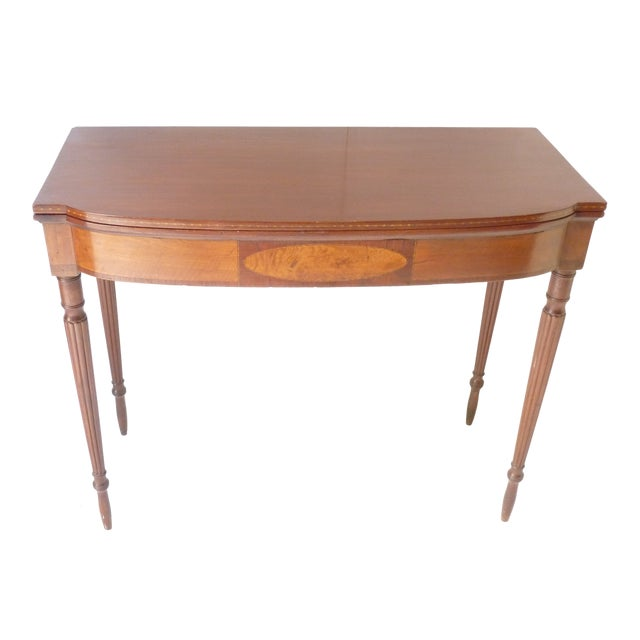 19th Century Early American Mahogany Demi-Lune Card Table For Sale