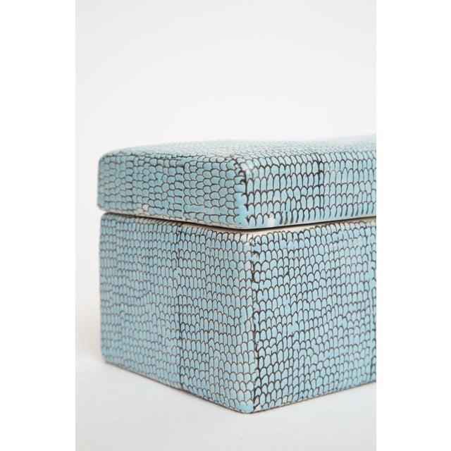 Turquoise Robins Egg Blue Snakeskin Glazed Porcelain Lidded Box For Sale In Miami - Image 6 of 13