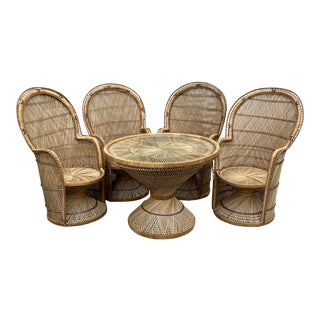 1970s Boho Chic Peacock Wicker Dining Table and Chairs - 5 Pieces For Sale