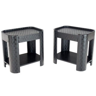 Pair of Lacquered Raffia Cloth Covered Stands End Occasional Tables Springer For Sale