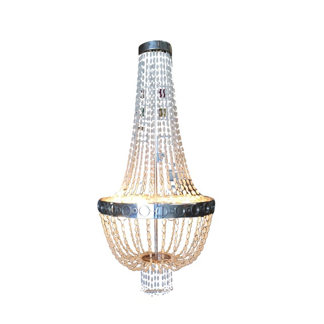 Troy by Zia Priven Beaded Crystal Basket Form Chandelier For Sale