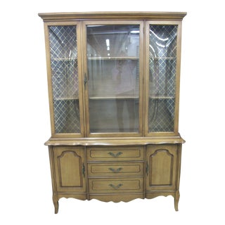 20th Century French Provincial China Cabinet with Curved Glass For Sale