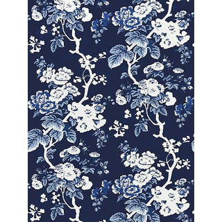 Scalamandre Ascot Floral Print, Indigo Wallpaper For Sale