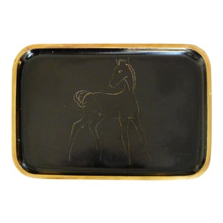"Mid-Century ""Horse"" Brass Tray by Hagenauer For Sale"
