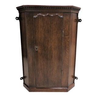 Small English Tiger Oak Hanging Corner Cabinet For Sale