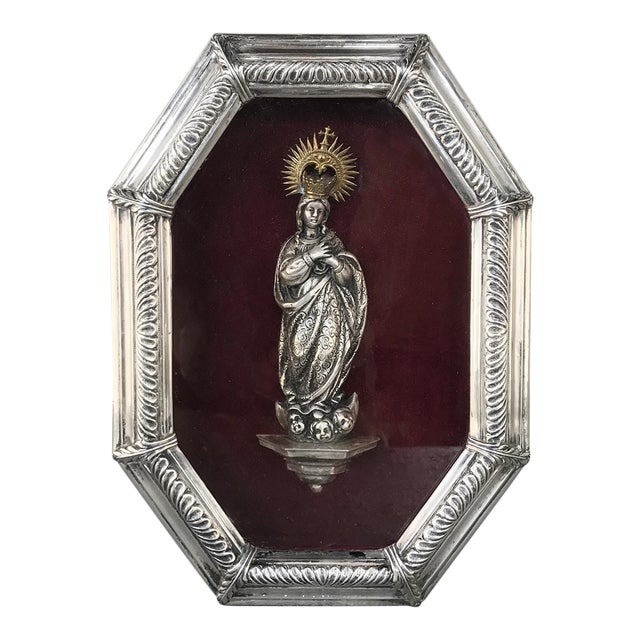 19th Century Madonna in Octagonal Frame For Sale