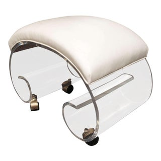 1970s Curved Lucite Stool For Sale
