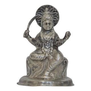 Vintage Pure Silver Lakshmi Hindu Goddess Statue
