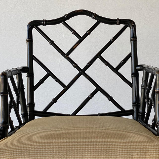 Mid 20th Century Mid 20th Century Faux Bamboo Regency Armchairs - a Pair For Sale - Image 5 of 9
