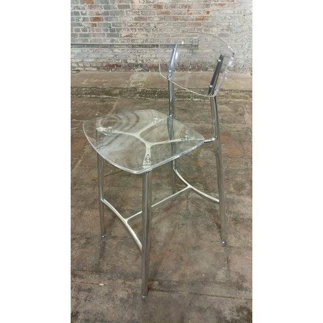 Contemporary Designer Lucite & Polished Steel Bar Stools - Set of 3 For Sale - Image 3 of 10