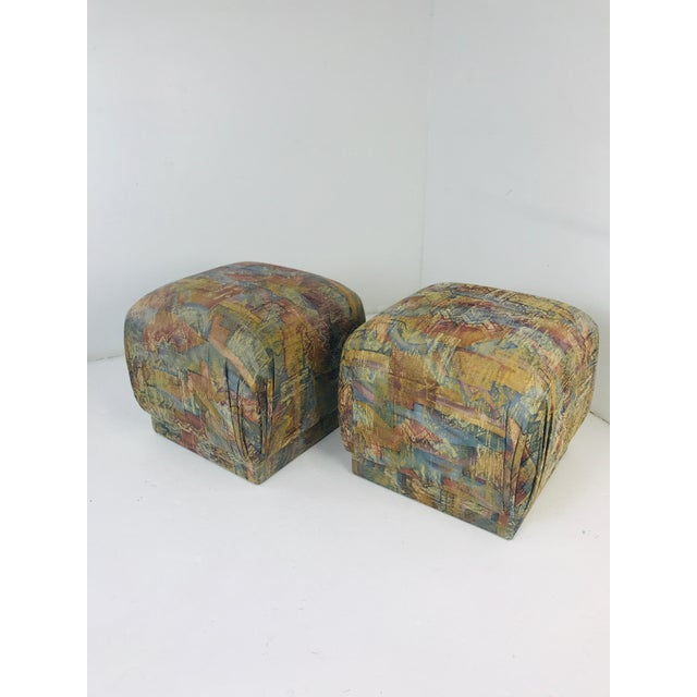 """""""Souffle"""" Pouf Ottoman benches with understated, Classic styling. After the design of Karl Springer."""