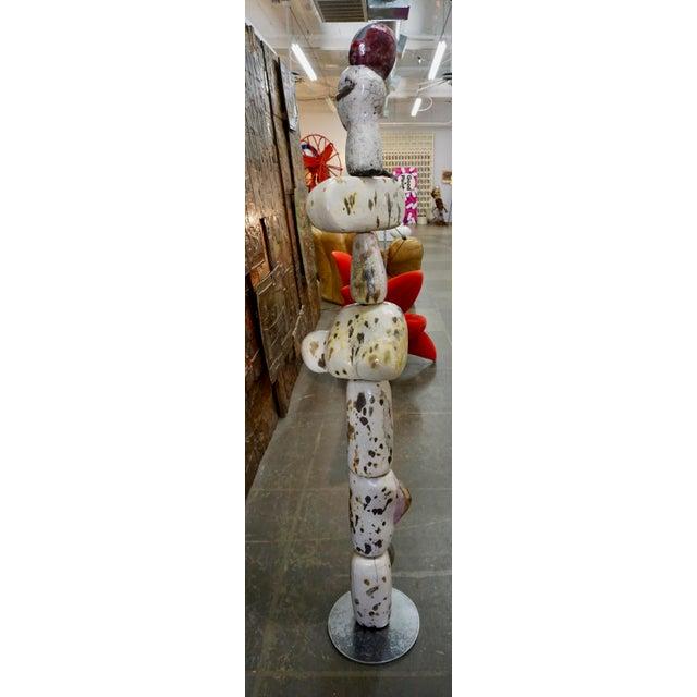 Ceramic Figural Ceramic Totem Sculpture Signed F. Fau For Sale - Image 7 of 10