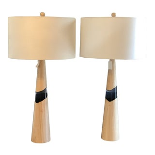 Wood and Resin Lamps - A Pair For Sale