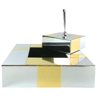 Paul Evans Brass and Chrome Desk Set for Directional For Sale