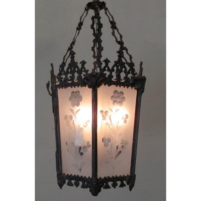 Mid-19th Century New Orleans Gothic Ebonized Brass Lantern For Sale In Charleston - Image 6 of 7