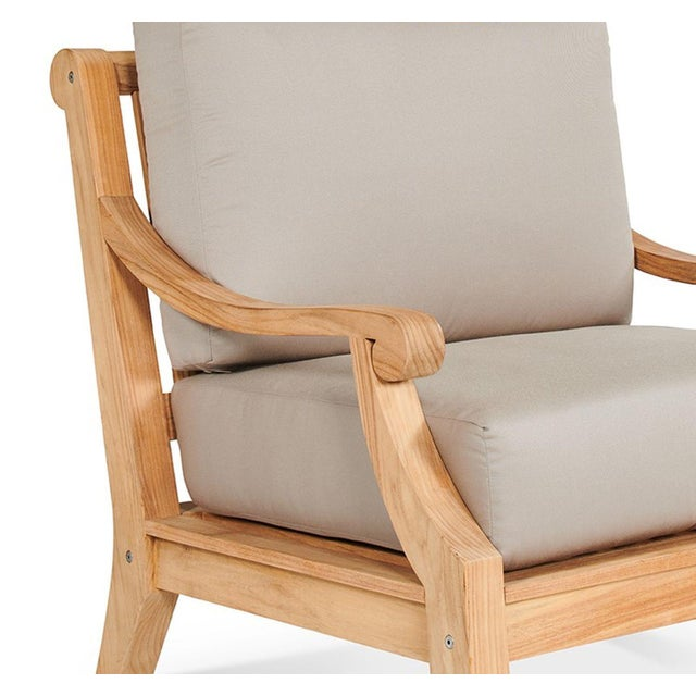 Contemporary Sonoma Teak Deep Seating Outdoor Club Chair with Sunbrella Antique Beige Cushion For Sale - Image 3 of 6