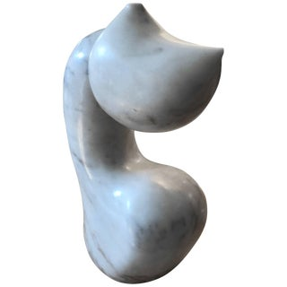Abstract Biomorphic White Marble Sculpture by Mario Denoto For Sale