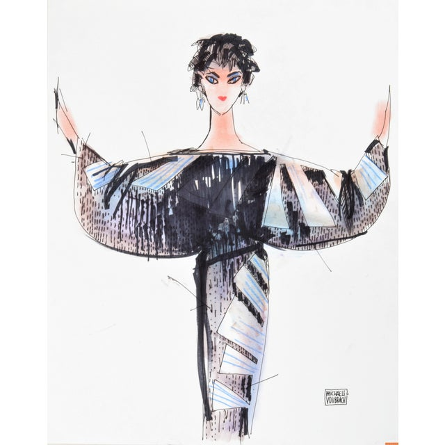 Michaele Vollbracht Fashion Drawing of Liz Taylor For Sale - Image 4 of 4