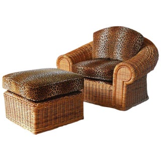 Michael Taylor Inspired Wicker Armchair with Scalamandre Style Leopard Upholstery
