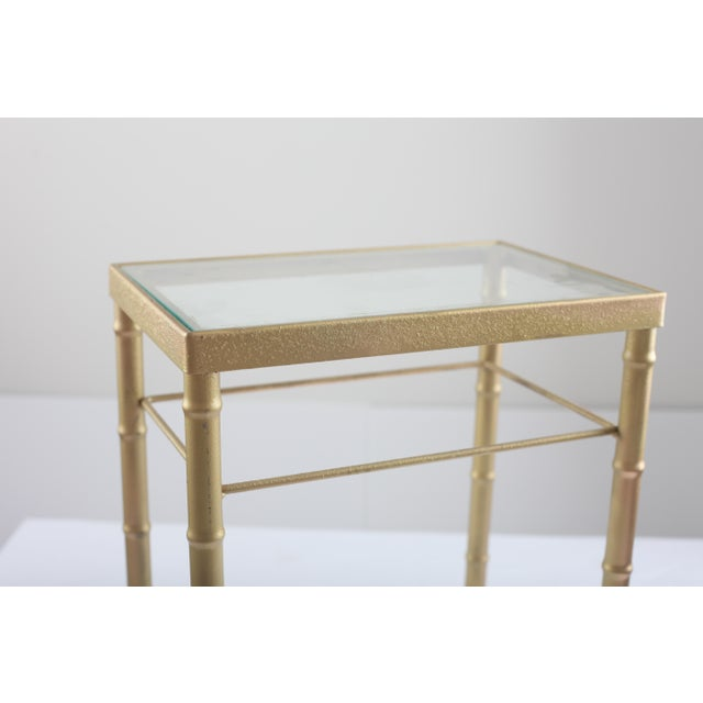 Faux Bamboo Brass & Glass Nesting Tables - Pair - Image 7 of 8