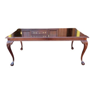 Mahogany Thomasville Furniture Chippendale Style Dining Room Table W/ 2 Leaves C1990s For Sale