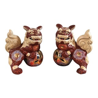 Vintage Andrea by Sadek Ornate Ceramic Foo Dogs - A Pair For Sale