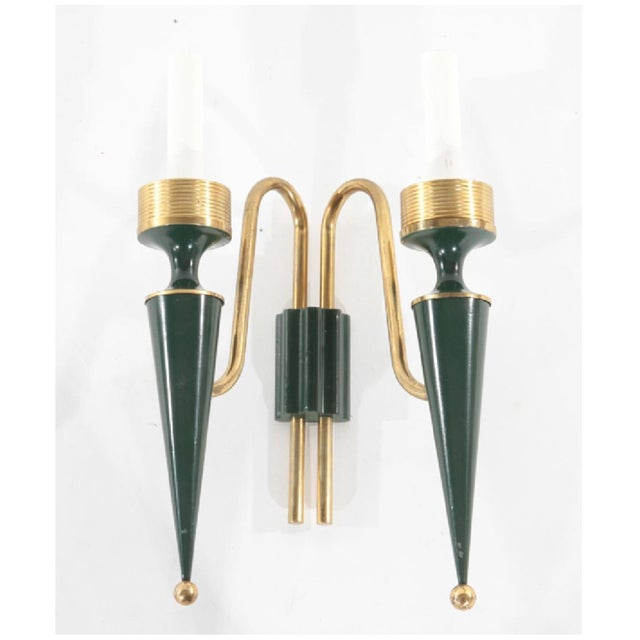Art Deco 1940s Art Deco French Modernist Dark Green and Bronze Sconces - a Pair For Sale - Image 3 of 5