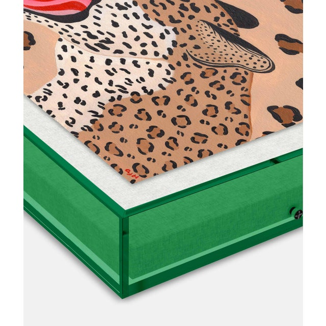 Vanessa the Leopard by Willa Heart in Dark Green Transparent Acrylic Shadow Box, Small Art Print Overall Size: 16x16....