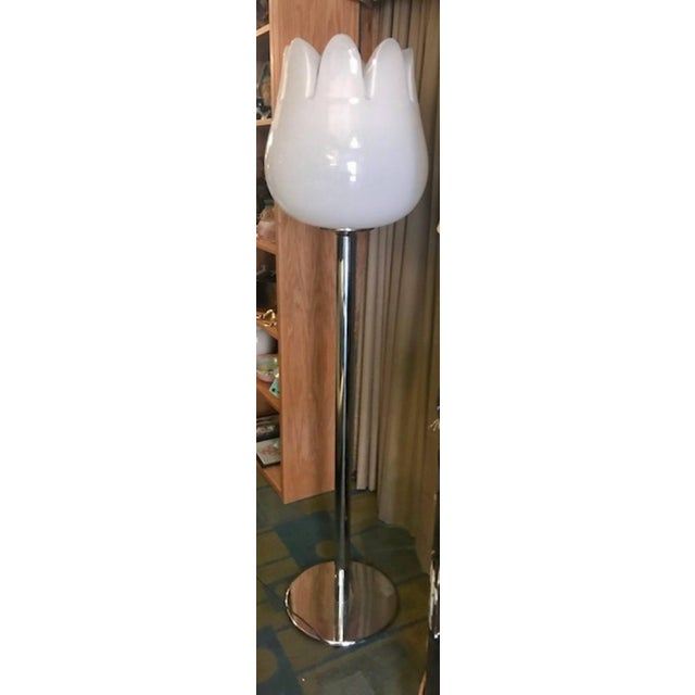 Metal Mazzega Murano Tulip Floor Lamp For Sale - Image 7 of 13