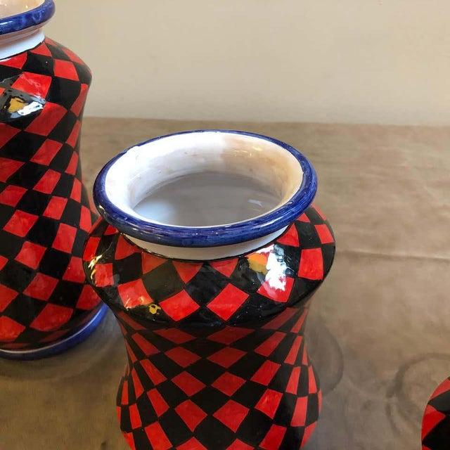 Ceramic Pieces Hand Painted Sicilian Terracotta Albarello Vases - Set of 3 For Sale - Image 7 of 11