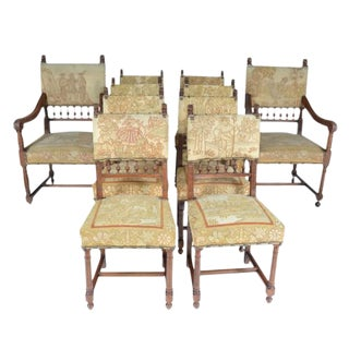 Late 19th Century Needle Petit Point Upholstered Chairs- Set of 10 For Sale