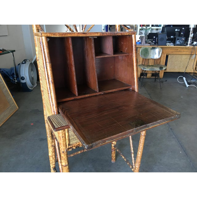 1900 - 1909 Aesthetic Movement Restored Tiger Bamboo Secretary Desk For Sale - Image 5 of 10