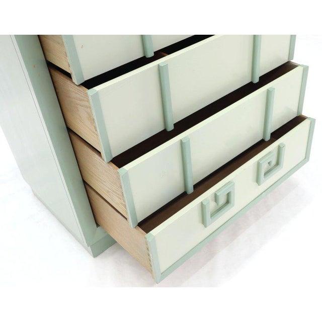 Kittinger Mandarin Pair of Chest Dresser Blue and White Lacquer Five Drawers