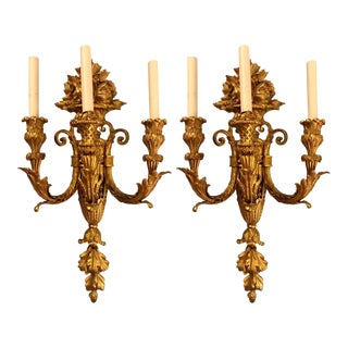Pair of Three-Arm Bronze Wall Sconces French Louis XVI Style Bronze Dore For Sale