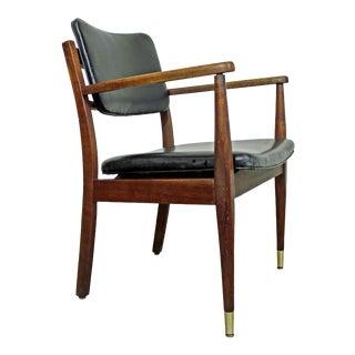 Mid-Century Danish Modern Walnut Open Arm Chair For Sale