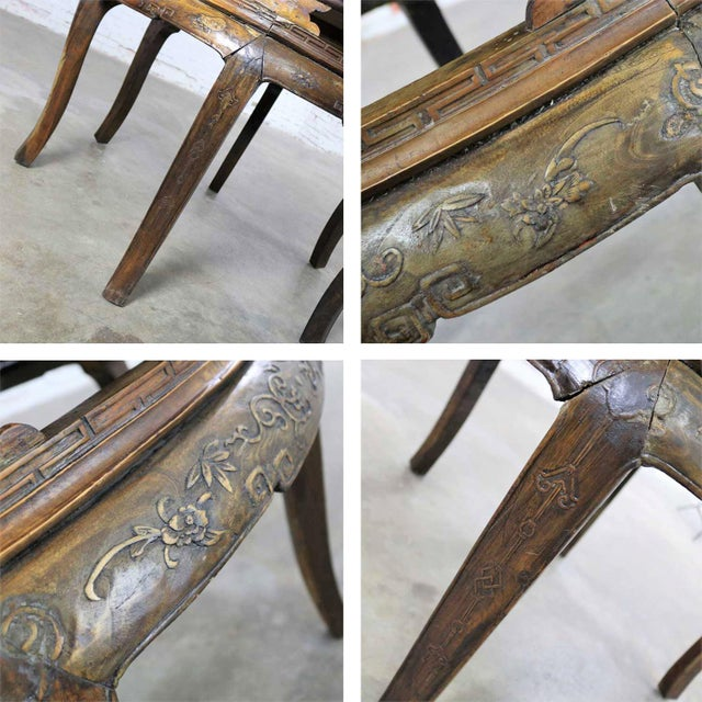 Antique Chinese Round Center Table Hand Carved Elm For Sale - Image 10 of 13