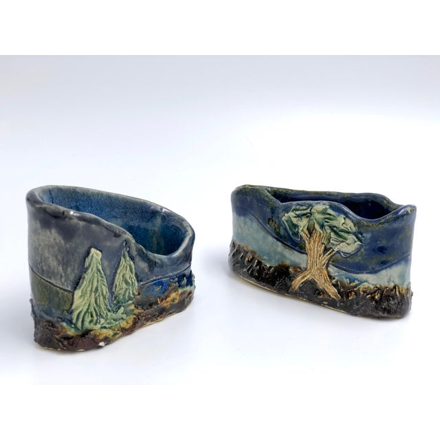 Handmade Ceramic Business Card Holders With Painted and Textured Landscapes - a Pair For Sale In Atlanta - Image 6 of 9