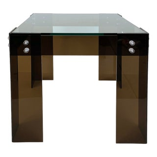 Mid-Century Modern Brown Lucite Side Table W/Inset Glass Top For Sale