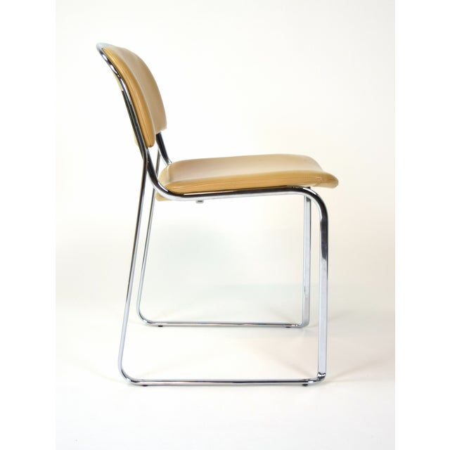 Bauhaus 1980s Vintage Stacking Leather and Chrome Chairs by Thema- Set of 4 For Sale - Image 3 of 11