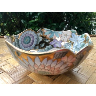 Vintage Hand Painted Pastel and Rose Gold Gilt Porcelain Floriform Catchall Bowl Preview