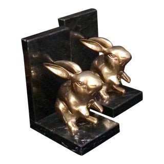 Decorative Crafts Book Ends Solid Brass Rabbits on Stone Vintage Pair For Sale