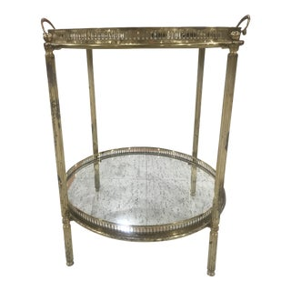 2 Tier Brass Tray Table For Sale